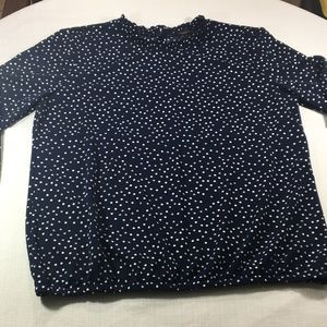Ann Taylor Factory Navy Polka Dot Shirt Blouse L